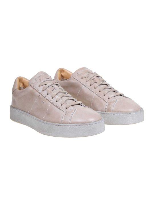 Santoni Beige Color Leather Sneakers