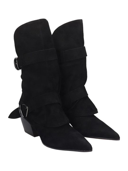 Dei Mille Texan Ankle Boots In Black Suede