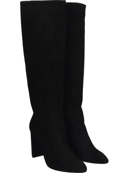 Dei Mille High Heels Boots In Black Suede