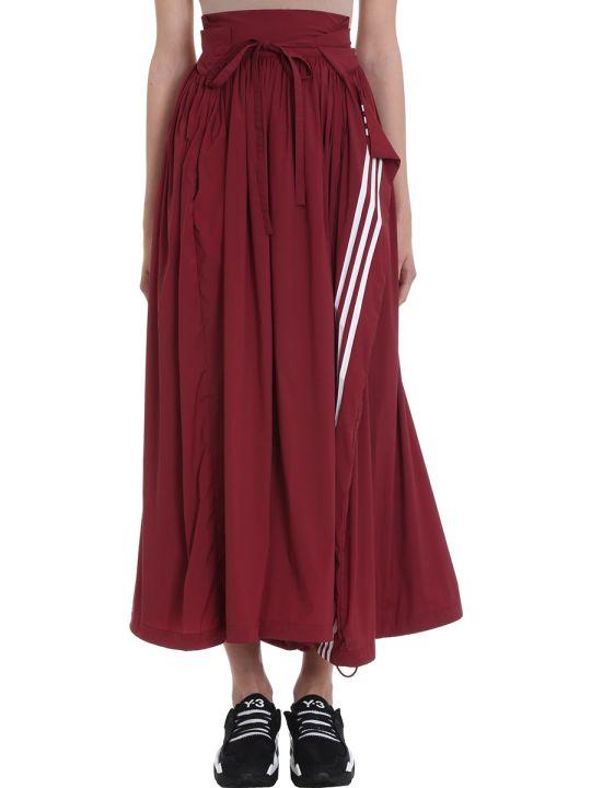 Y-3 Burgundy Nylon Skirt