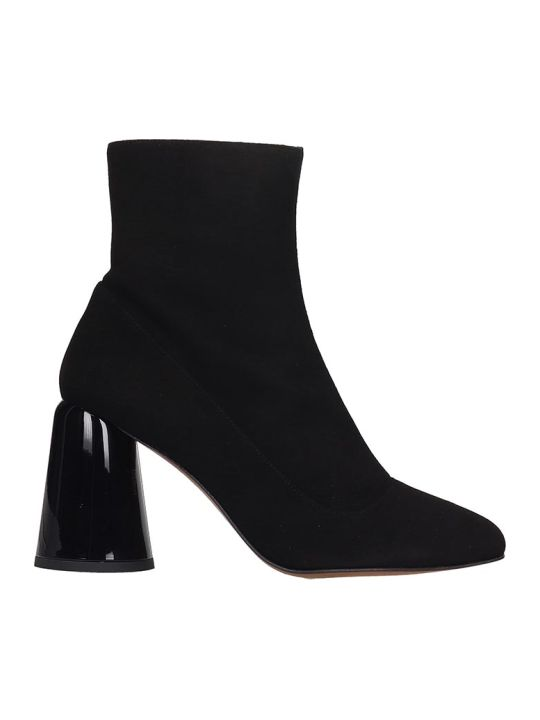 Castañer Kissa High Heels Ankle Boots In Black Suede