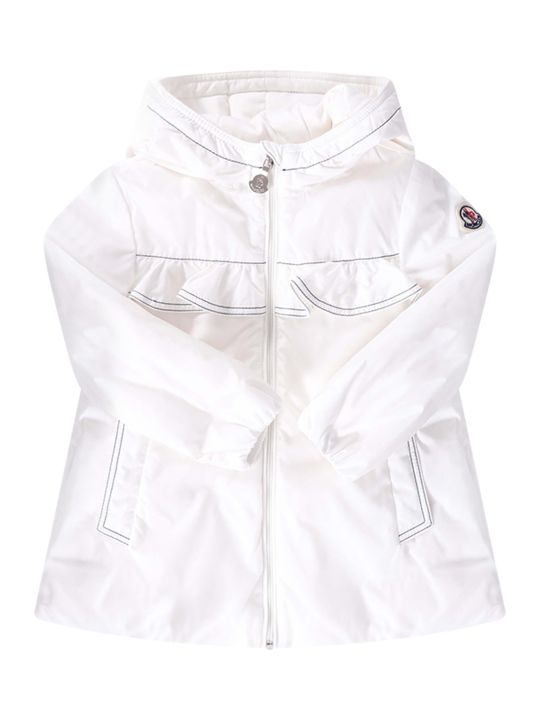 Moncler White Babygirl Jacket With Iconic Patch