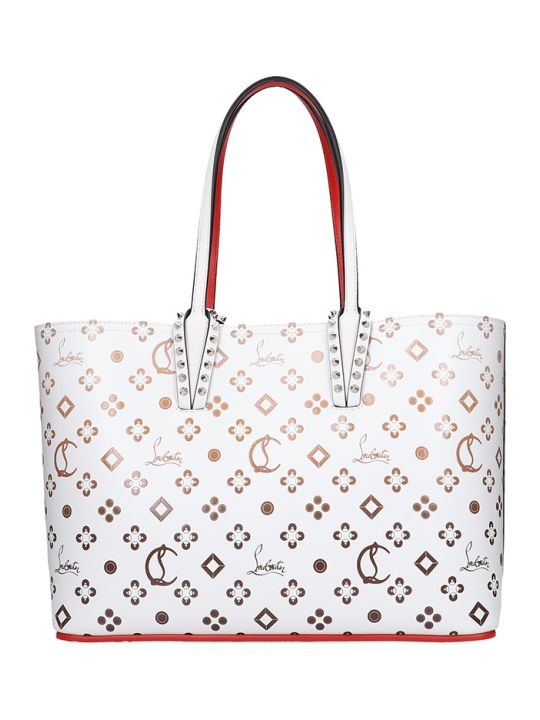 Christian Louboutin Cabata Small Tote In White Leather