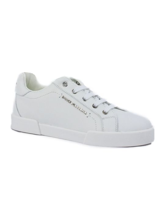 Dolce & Gabbana Portofino Light Sneakers In White Calfskin