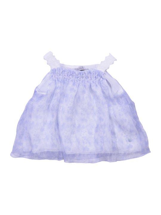 Baby Dior Floral Print Light Blue Silk Blouse