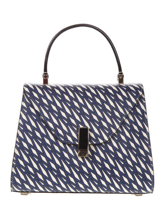 Valextra Blue And Ivory Iside Graphic Leather Printed Bag