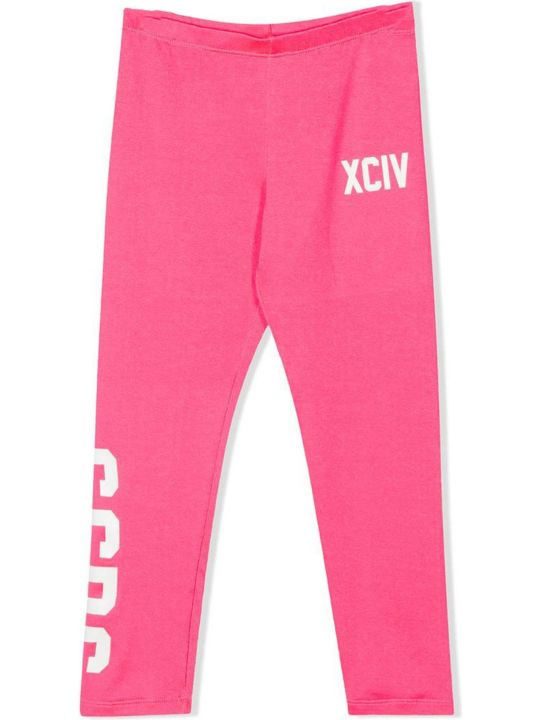 GCDS Pink Cotton Blend Logo Print Leggings