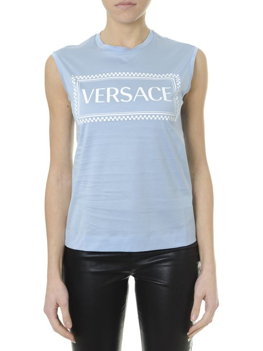Versace Embroidered Logo Tank Top Azure & White