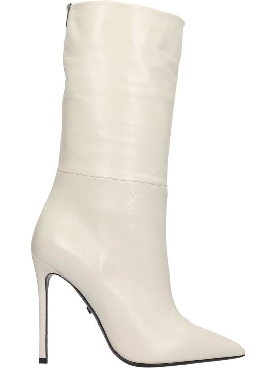 Grey Mer High Heels Ankle Boots In White Leather
