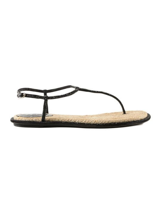 René Caovilla Rene Caovilla Thong Rope Jet Strass Flat Sandals