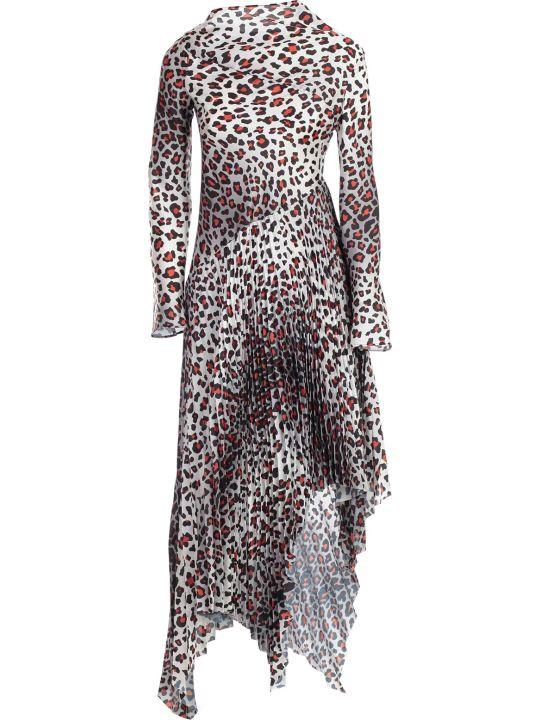 Marques'Almeida Dress Printed Satin W/pleated Skirt