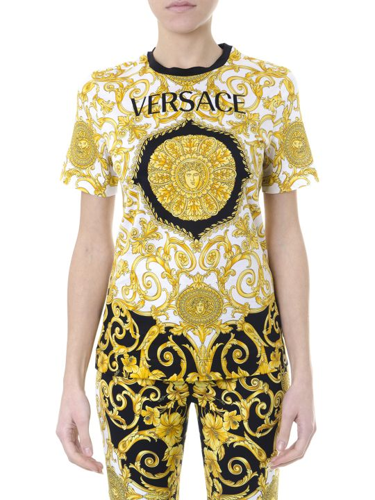 Versace Cotton T-shirt With Iconic Print
