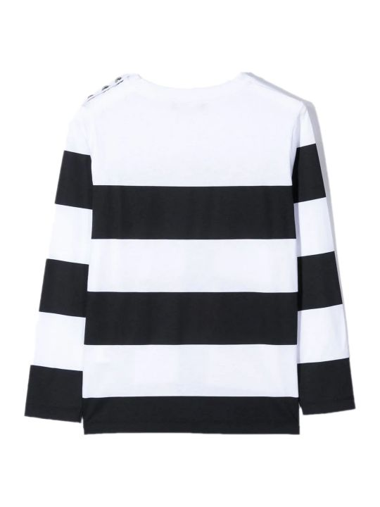 Balmain White And Black Cotton T-shirt