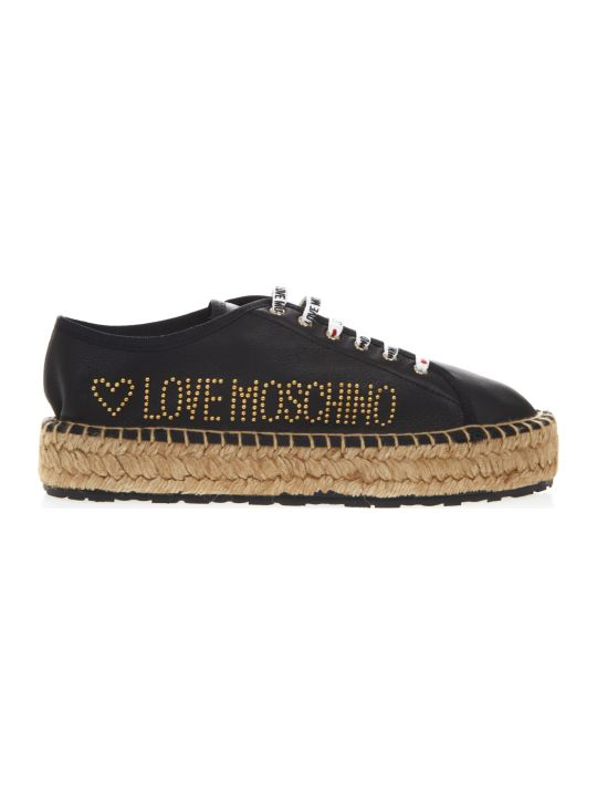 Love Moschino Black Laced Leather Espadrille With Logo