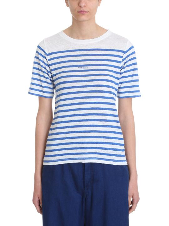 Acne Studios Blue White Stripe Cotton And Linen T-shirt