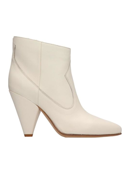 Buttero White Leather Ankle Boots