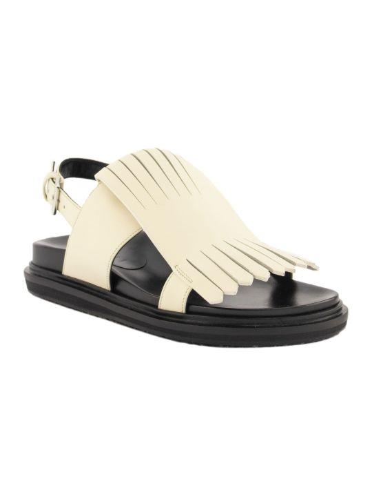 Marni Fringed Fussbett Sandals Silk White