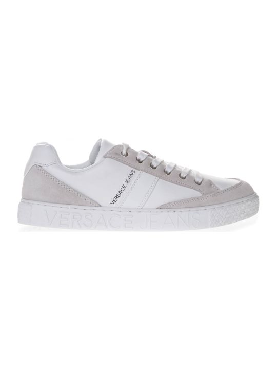 Versace White Faux Leather Sneakers With Suede Details