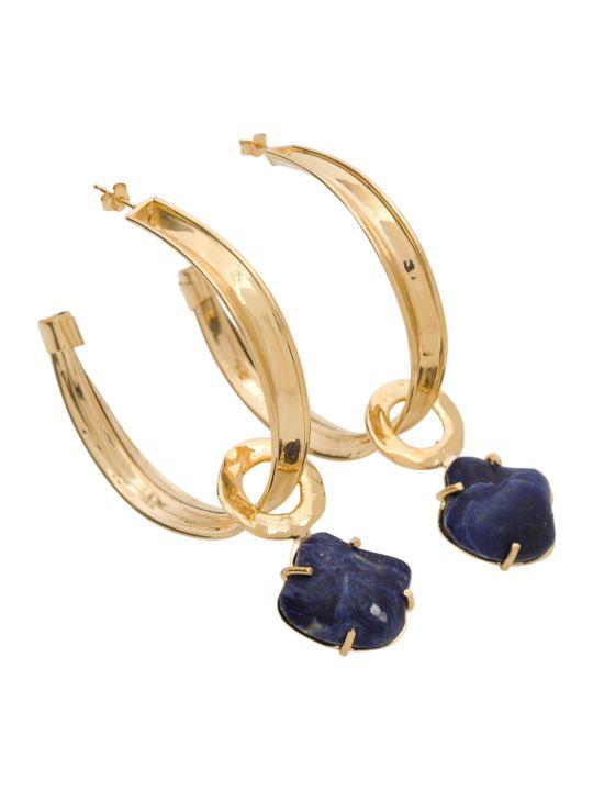 Alberta Ferretti Golden Toned Metal Earrings With Stone