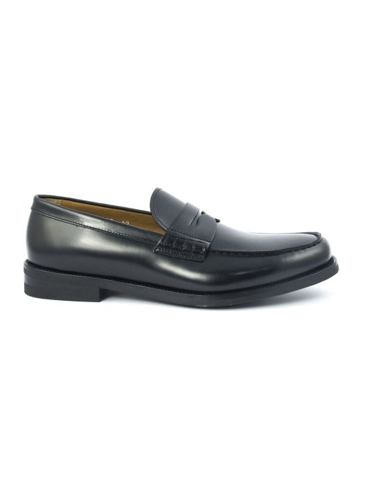 Doucal's Black Polished Leather Loafer