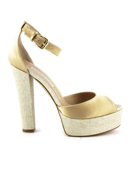 Roberto Festa Venezia Sandal In Golden Fabric