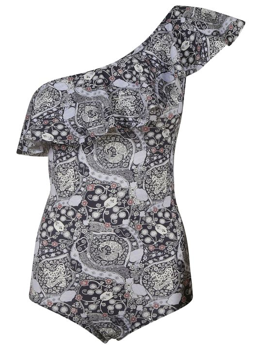 Isabel Marant One-sleeve Printed One-piece Swimsuit