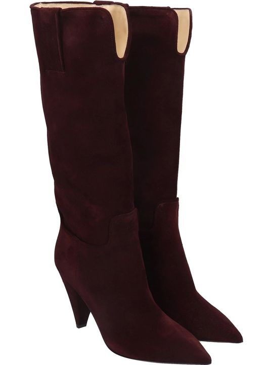 Fabio Rusconi High Heels Boots In Bordeaux Suede