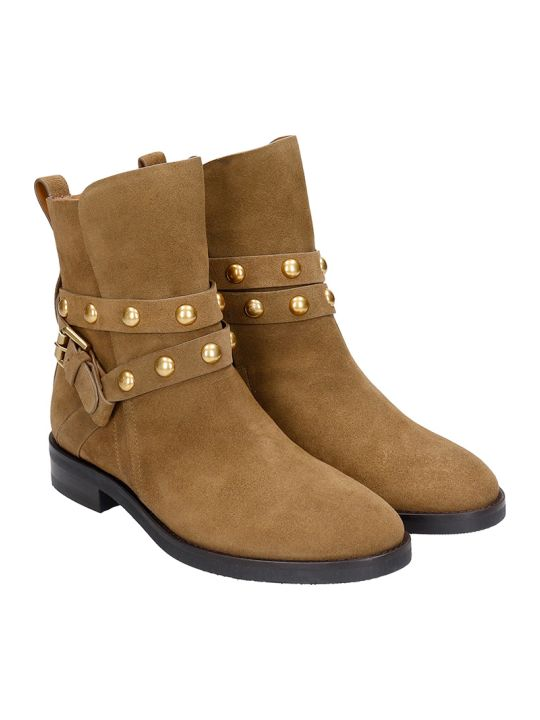See by Chloé Janis Low Heels Ankle Boots In Taupe Suede