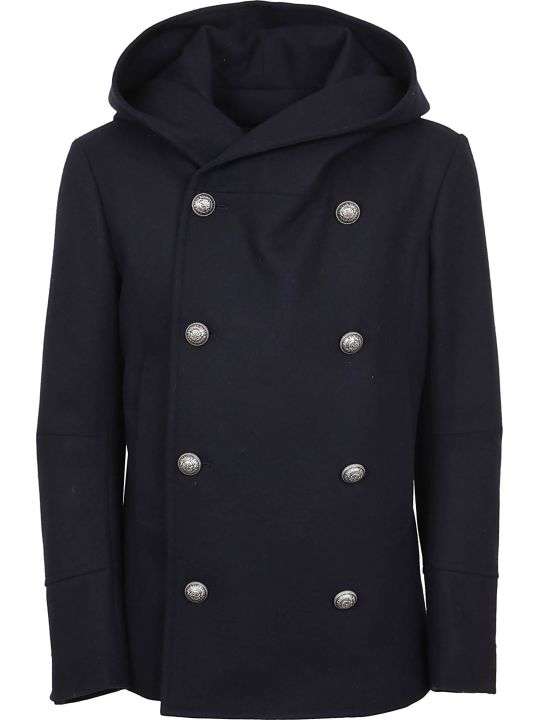 Balmain Wool Cashmere Hooded Double Breasted Pea Coat