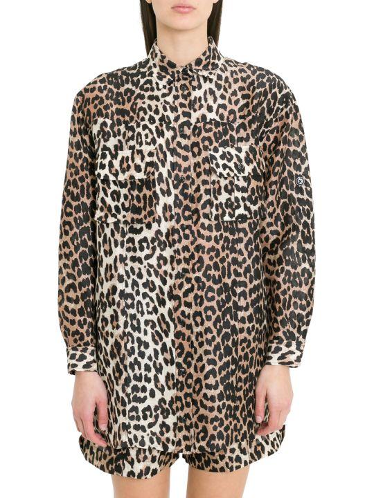 Ganni Cedar Leopard Printed Shirt