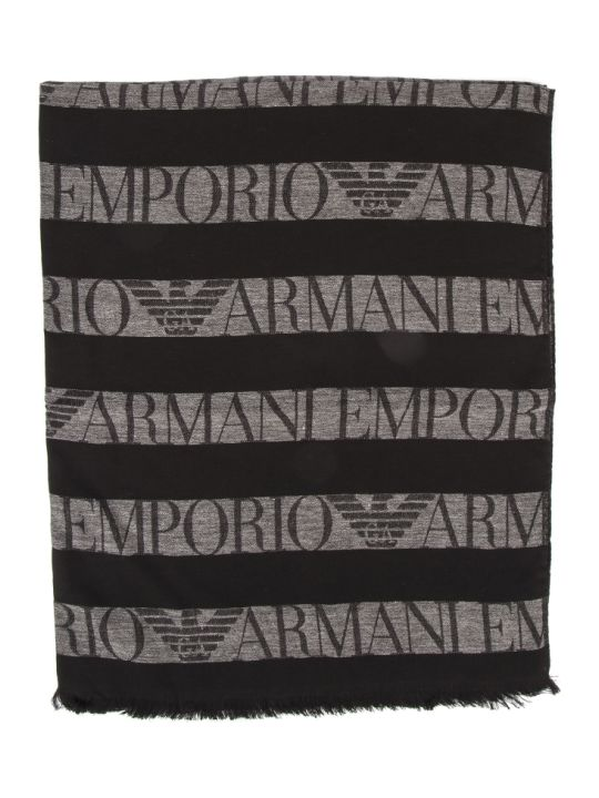 Emporio Armani Black & Grey Viscose Stripes Logo Scarf