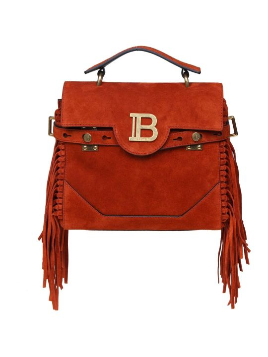 Balmain Handbag B-buzz 23 In Suede Color Rust