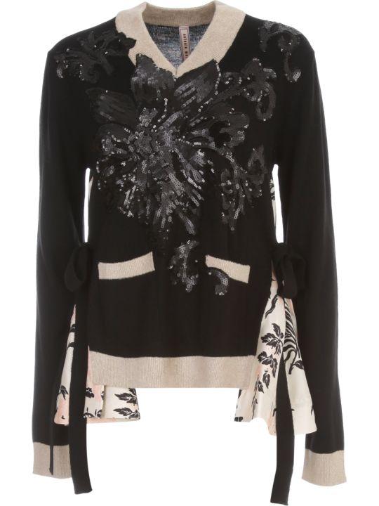 Antonio Marras Silk Inserts Sweater V Neck W/flowers Paillettes