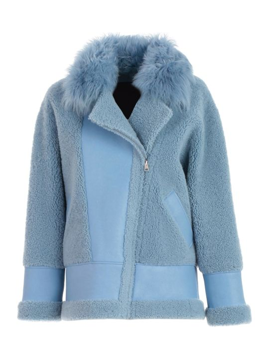 Blancha Jacket Leather Over W/fur Neck