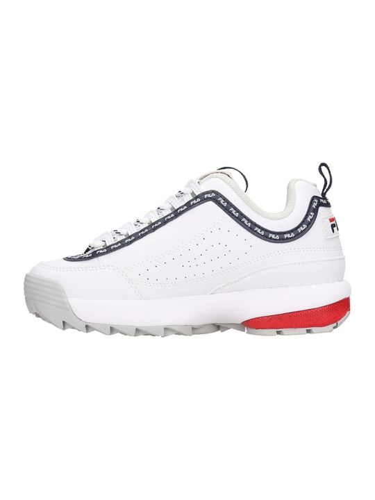 Fila Distruptor Logo Sneakers In White Leather