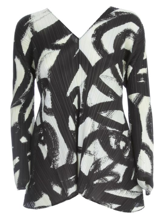 Pleats Please Issey Miyake Sweater L/s V Neck In Front And Behind Fantasy