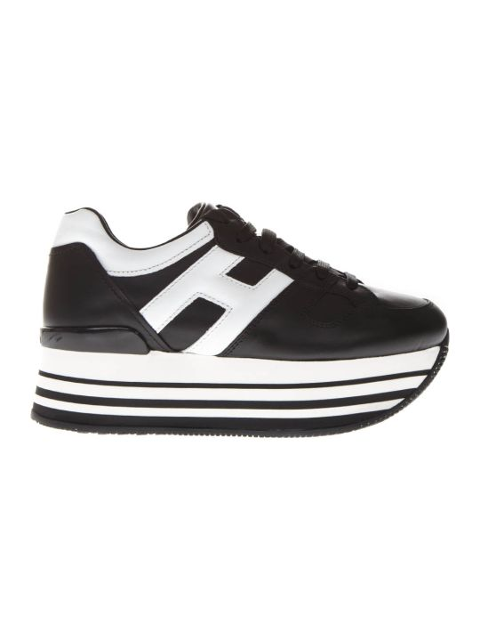 Hogan Maxi H222 Black Leather Sneakers
