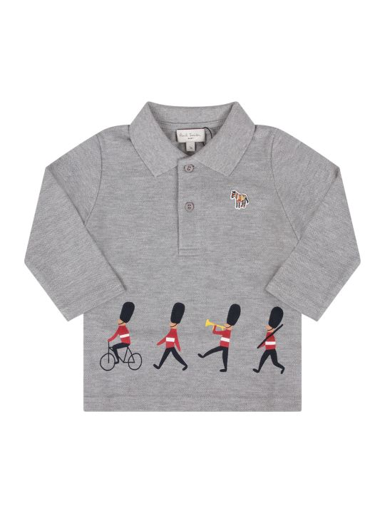 Paul Smith Junior Grey Babyboy Polo Shirt With Colorful Guards