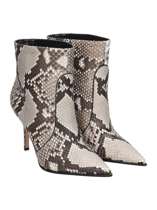 Lerre High Heels Ankle Boots In Animalier Leather