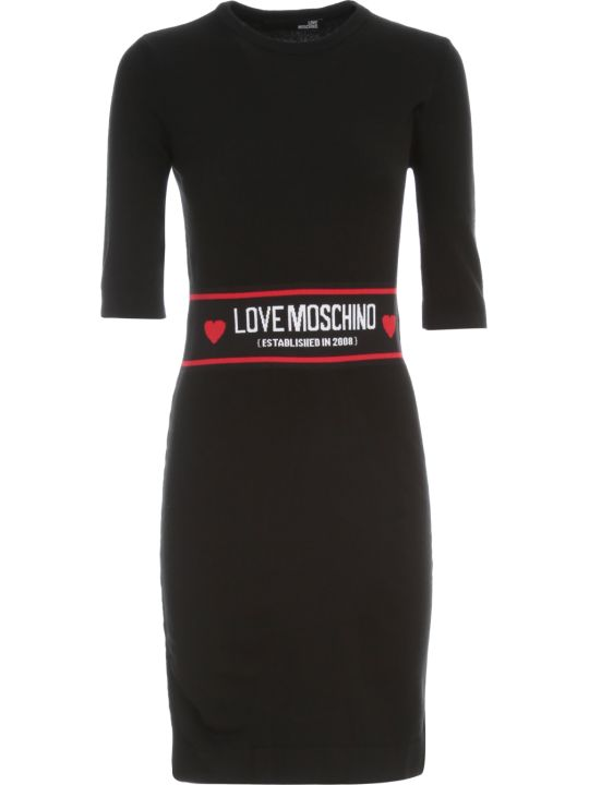 Love Moschino Dress S/s W/band On Waist And Written