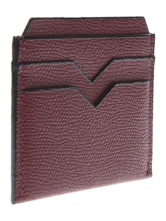 Valextra Bordeaux Cardholder In Pebbled Leather Texture