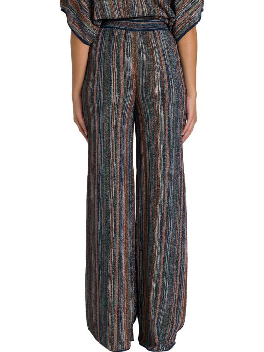 M Missoni Wide Pants In Striped Lurex Knit