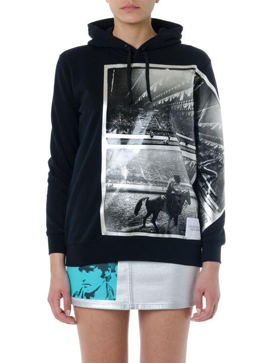 Calvin Klein Jeans Black Printed Hoodie Sweatshirt In Mixed Cotton