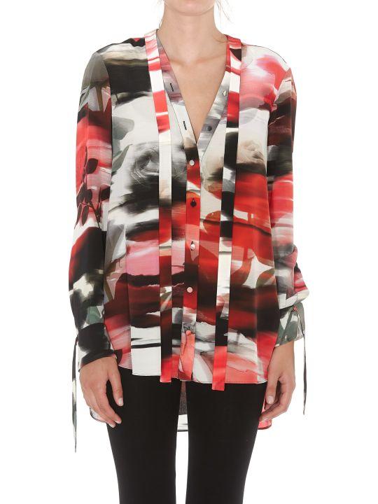 Alexander McQueen Torn Rose Patterned Silk Shirt