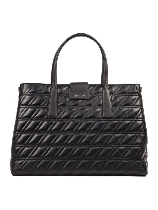 Zanellato Black Leather Metropolitan Zeta Duo Bag