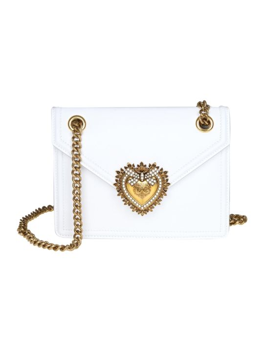 Dolce & Gabbana Shoulder Bag Devotion In Calf Leather White Color