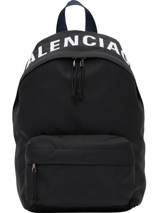 Balenciaga Wheel Logo Embroidered Nylon Backpack