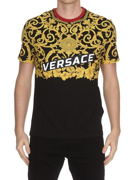 Versace Gold Hibiscus Logo T-shirt