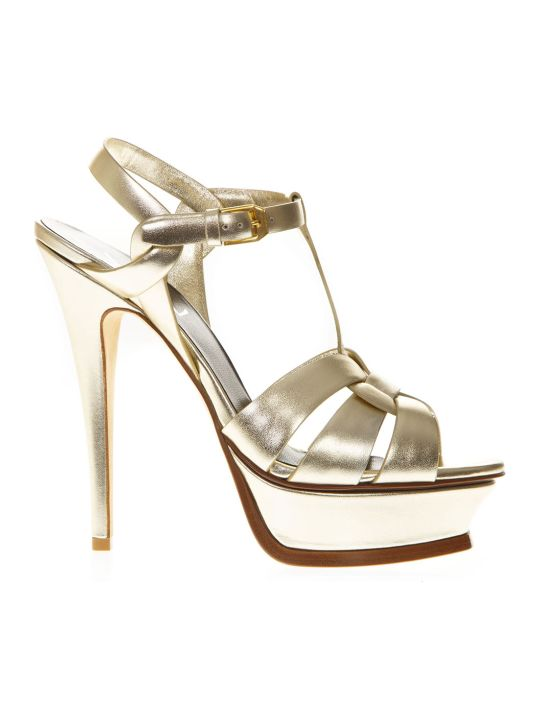 Saint Laurent Tribute Platinum Metallic Leather Sandals