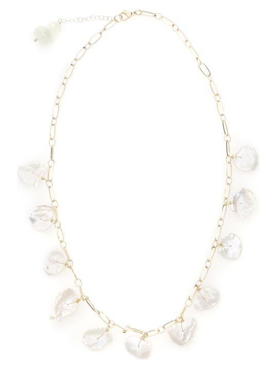 Timeless Pearly Chain Necklace With Mother-of-pearl Pendants